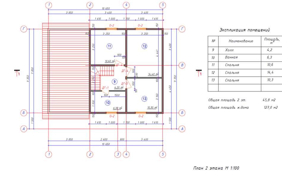 Проект каркасного дома с площадью 127 м2 - 2 этаж