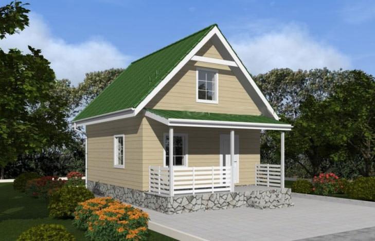 Небольшой дачный дом с мансардой