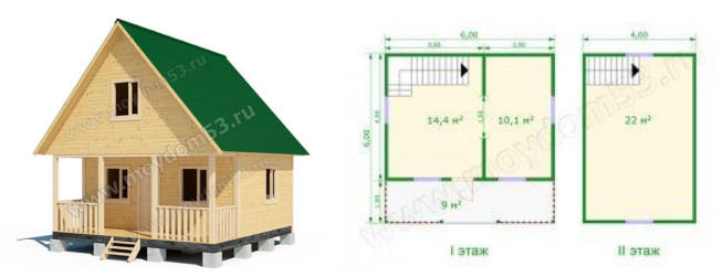 Дом эконом-класса 6х6 м2