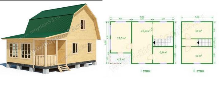 Дом эконом-класса 6х6 м2 №2