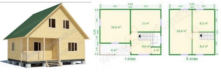 Проект дома размером 6х8 м2