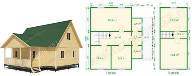 Проект дома размером 6х9 м2