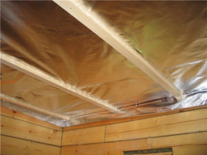 Пароизоляция потолка бани
