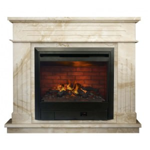 Мраморный электрический камин с эффектом живого пламени