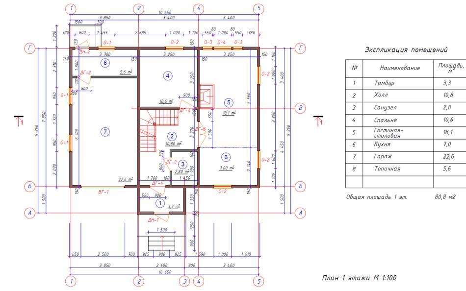 Проект каркасного дома с площадью 127 м2 - 1 этаж