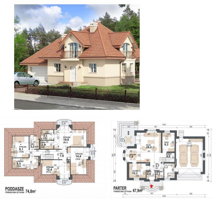 Двухэтажный дом с эркером - фото здания и фото проекта