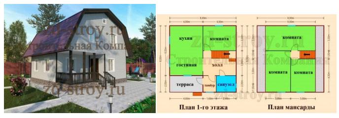 Каркасный дом с мансардой и террасой - проект