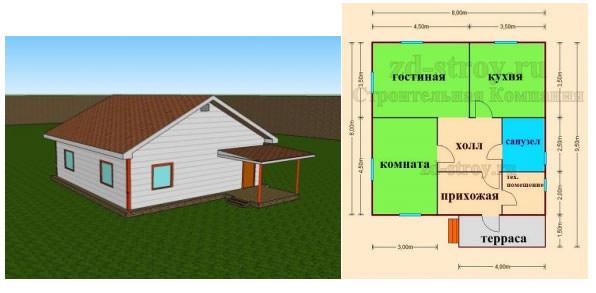 Каркасный дом с мансардой и террасой проект Волхов