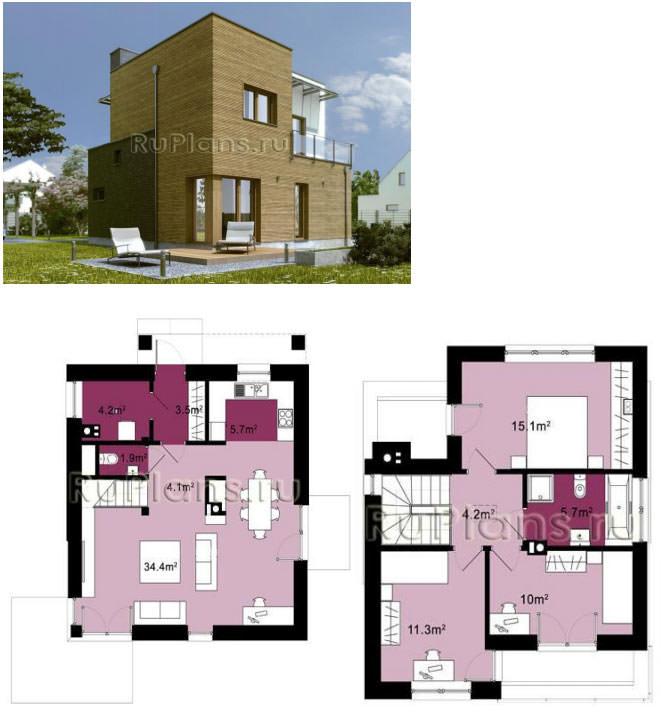Двухэтажный каркасный дом - проект