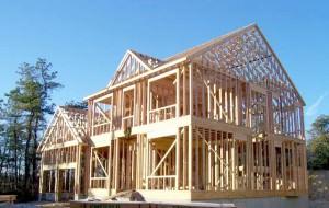Каркасный дом из деревянных балок