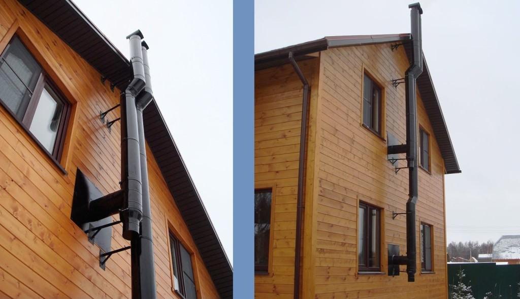 Коаксильный дымоход на стене дома