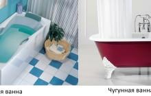 Акриловая и чугунная ванна