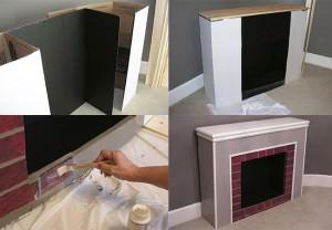 Изготовление камина из картона своими руками