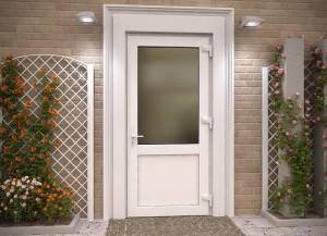 Входная пластиковая дверь с матовым стеклом