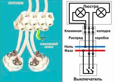 Схема подключения люстры на три провода