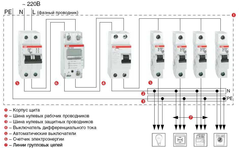 Схема подключения однофазного автомата