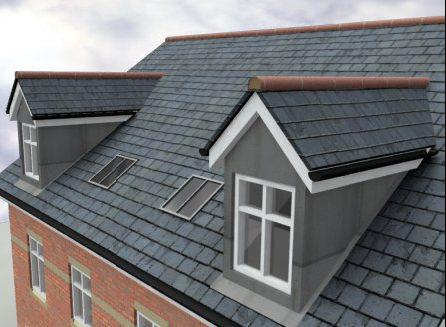 Слуховое окно на крыше дома
